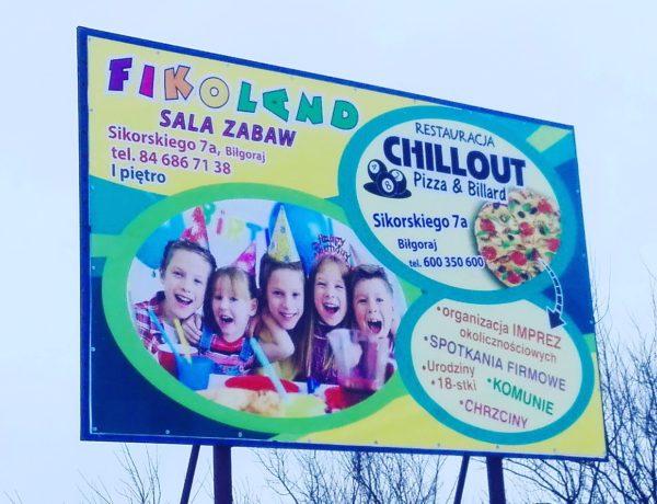 Billboard dla Fikoland Chillout /big print reklama biłgoraj